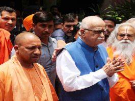 UP CM Yogi Adityanath with Advani in Lucknow. Photo: UNI