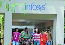 Employees at the Infosys campus in Bengaluru. Photo: UNI