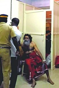 The godman was violently attacked by a woman for allegedly raping her. Photo: UNI