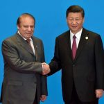 Chinese President Xi Jinping shakes hands with Pakistan's prime minister Nawaz Sharif during the Belt and Road Forum in Beijing. Photo: UNI