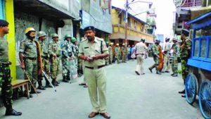 Troops patrol the streets in Darjeeling. Photo: UNI