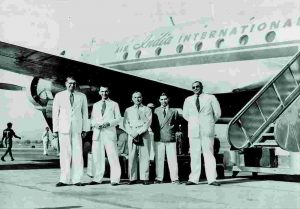 JRD Tata (second from left), whose Tata Airlines became Air India in 1946, with the airline crew. Courtesy: Air India