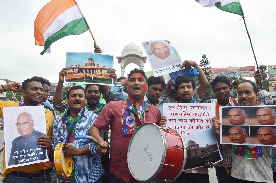 LJP supporters celebrating the election of Ram Nath Kovind as the 14th President of India in Patna on Thursday. Photo: UNI
