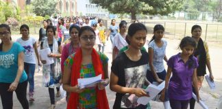 Candidates coming out the examination centre after appearing for NEET exam, in Patna (file picture). Photo: UNI
