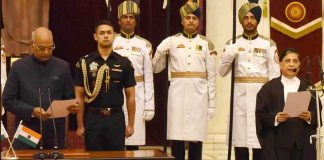 President Kovind (Left) administering oath of Chief Justice to Justice Dipak Misra