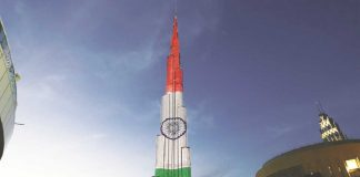 Indian Republic Day celebrated at Burj Khalifa in Dubai this January. Photo: Twitter