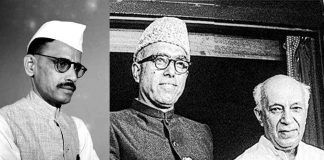 (L-R) Gulzari Lal Nanda, who was the PM for two short periods; Sheikh Mohammad Abdullah and Jawaharlal Nehru (photo: kashmirconnected.com).