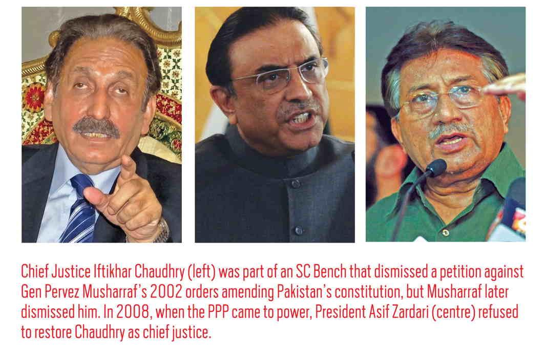 Left to right: Chief justice Iftikhar Chudhary, Asid Zardari and Parvez Musharraf