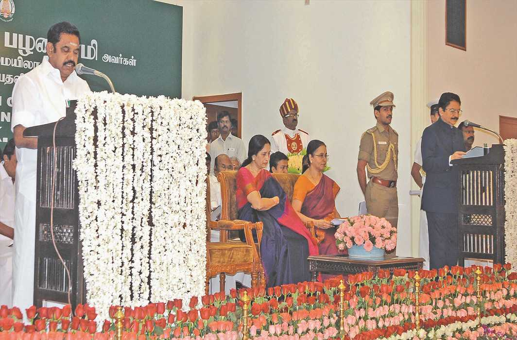 E Palanisami taking oath as CM. Photo: UNI