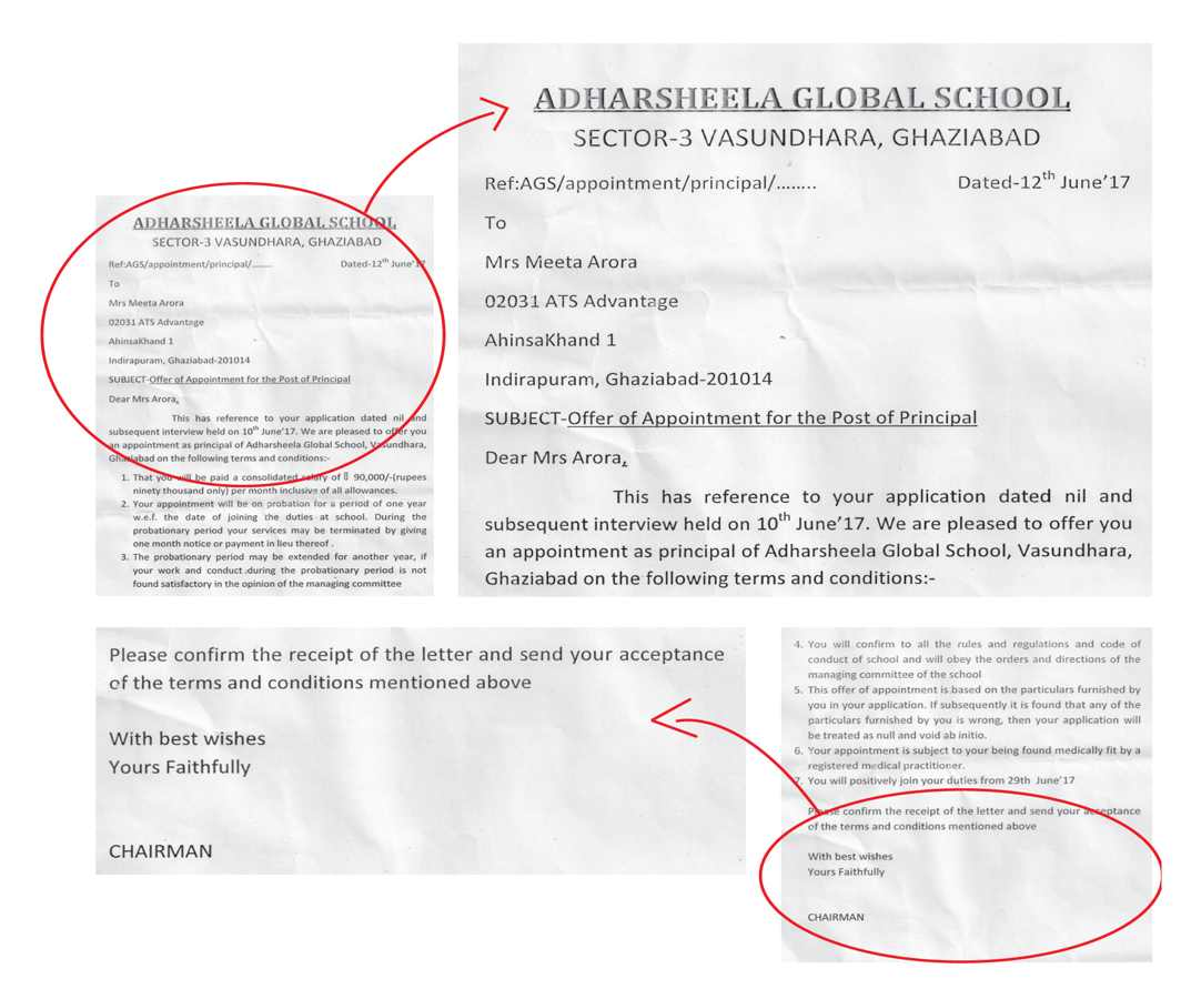 The emailed correspondence doesn't carry any signature or stamp from the school authorities