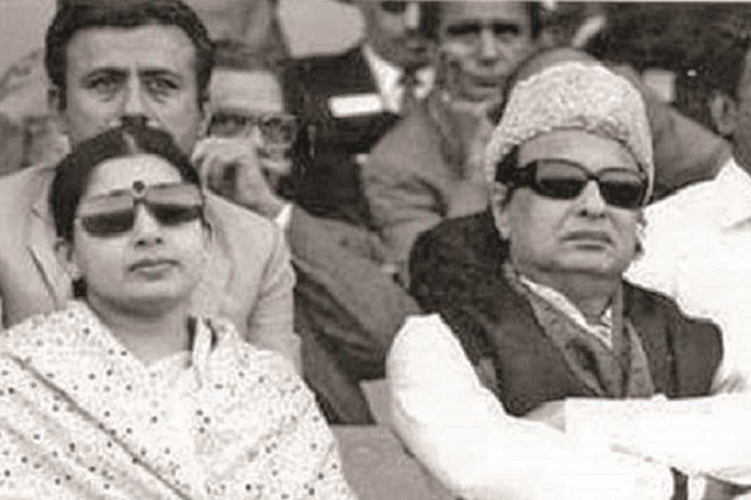 File picture of MGR, who launched the AIADMK, with J Jayalalithaa