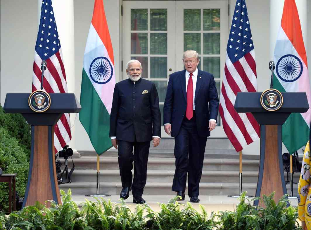 US President Trump with PM Modi—the US is leaning on India for tactical support in Afghanistan. Photo: PIB