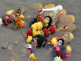 Goddess Durga floating in the river Brahmaputra after it was immersed during the Durga Puja festival in Guwahati (file picture). Photo: UNI