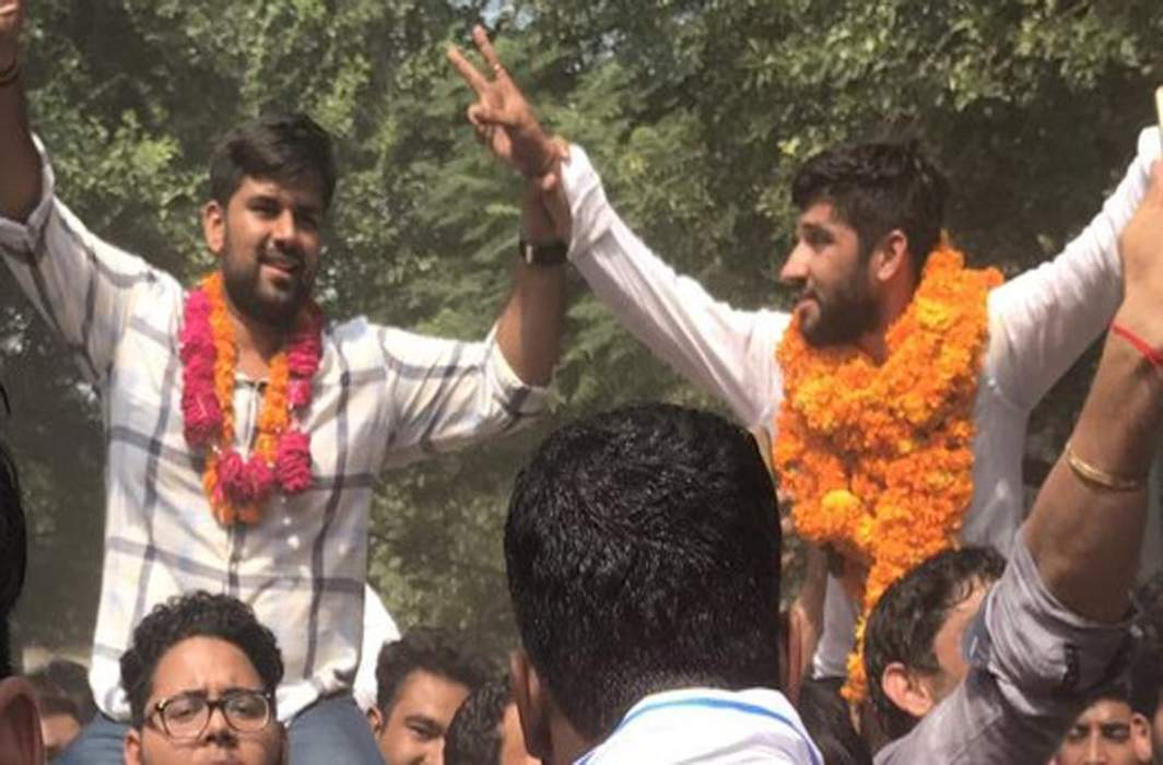 Candidates celebrating their victories in the DUSU elections which were declared today