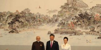 PM Modi with Chinese president Xi Jinping and First Lady Peng Liyuan on the sidelines of the 9th BRICS Summit in Xiamen. Photo: UNI