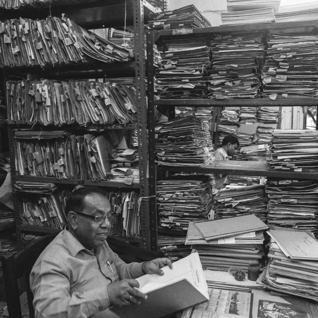 The humongous stack of files is indicative of the burden of litigation the Indian courts have to grapple with. Photo: Prashant Panjiar