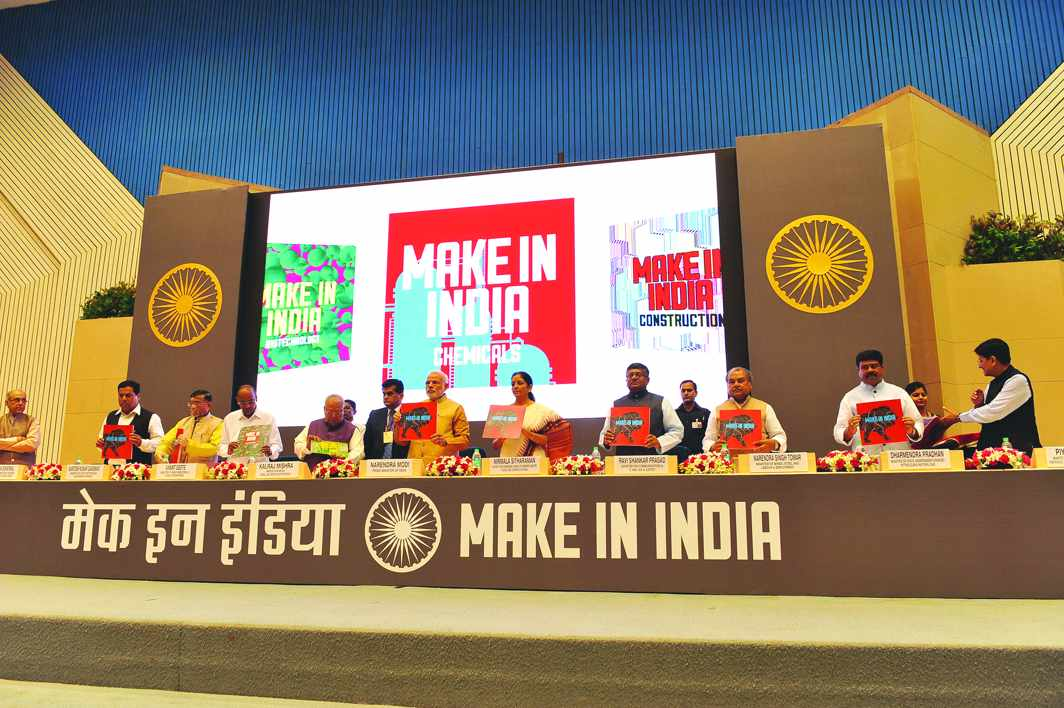 """Prime Minister Narendra Modi wooing Indian industry with his """"Make in India"""" initiative"""