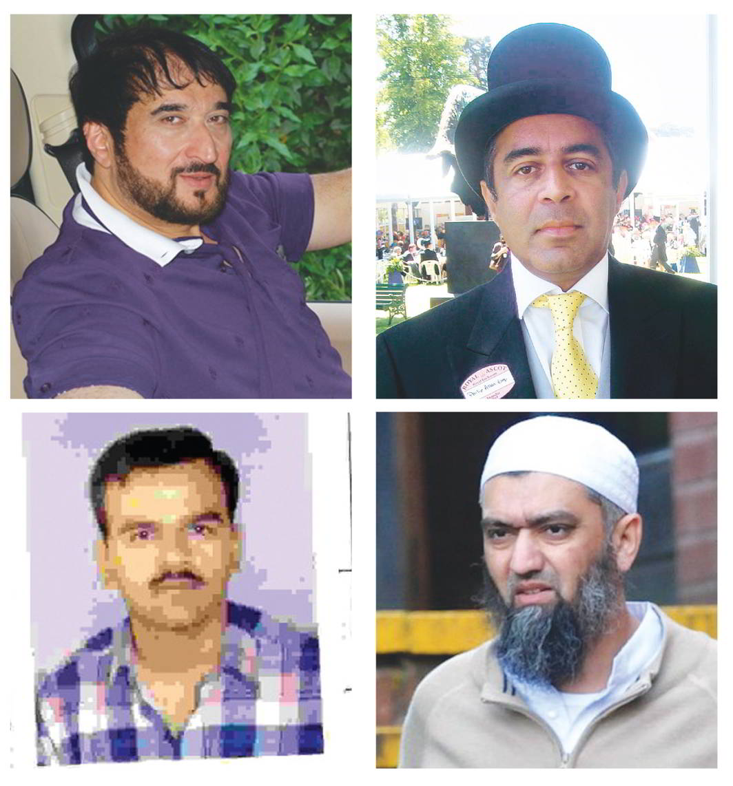 (Clockwise from far left) Musician Nadeem Saifi, accused in the Gulshan Kumar murder case; Ravi Shankaran, accused of stealing documents from the Indian Naval War Room; Tiger Hanif, Dawood Ibrahim's aide; Samirbhai Patel wanted in the Gujarat riots case