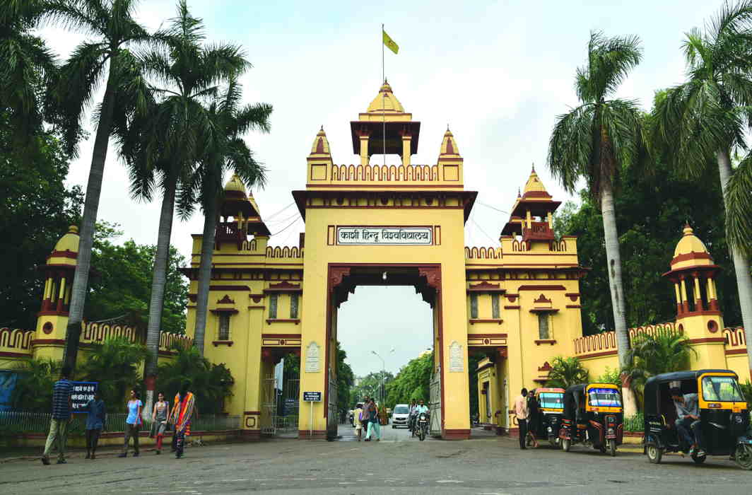 The entrance to BHU campus, which had an illustrious past but now courts controversies. Photo: wikimedia/ Kuber Patel