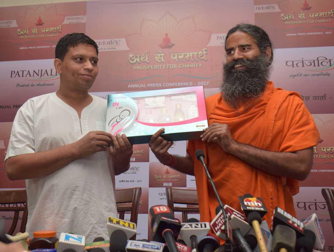 Baba Ramdev launching new Patanjali products at a press conference. Photo: UNI