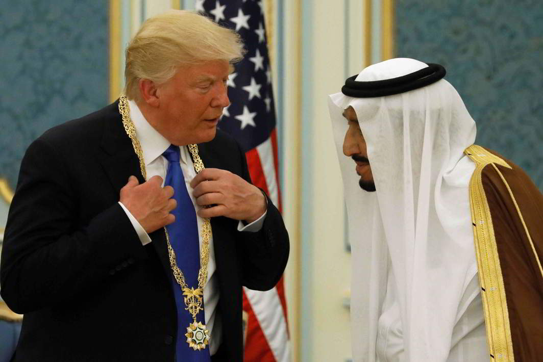 Trump meets Saudi Arabia's King Salman bin Abdulaziz al-Saud during his visit to the kingdom in May this year. Photo: UNI
