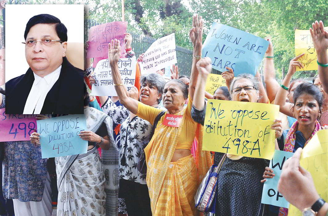 Women protesting against the dilution of Section 498A in Delhi; (inset) Chief Justice of India Dipak Misra. Photo: K.M Vasudevan/lawyerscollective.org