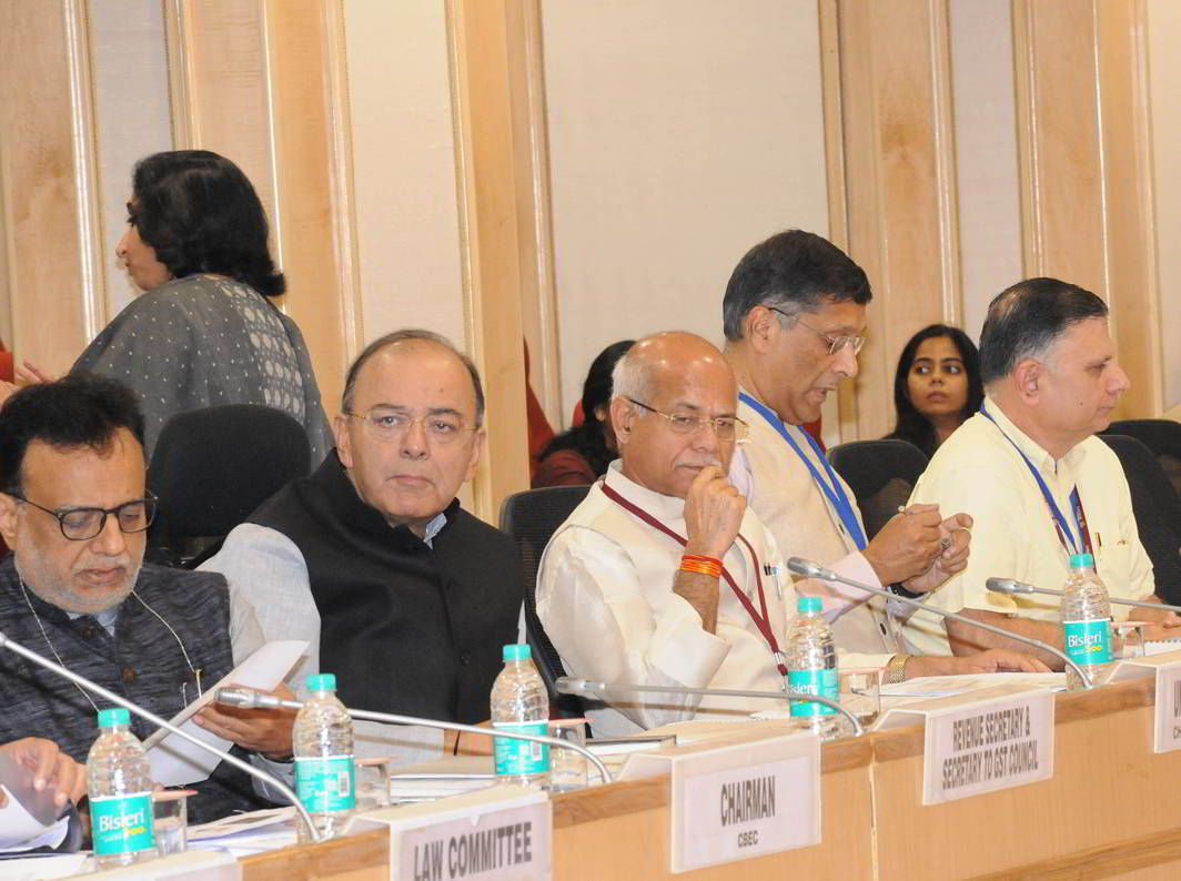 (L-R) Hansmukh Adhia, Union Revenue Secretary, Union Finance Minister Arun Jaitley, MoS (Finance) Shiv Pratap Shukla, Chief Economic Advisor Arvind Subramanian and others attending the 22nd meeting of the Goods and Service Tax Council in New Delhi on October 6.Photo: UNI