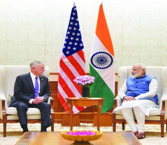 US Defence Secretary Jim Mattis with Prime Minister Narendra Modi in New Delhi. Photo: PIB