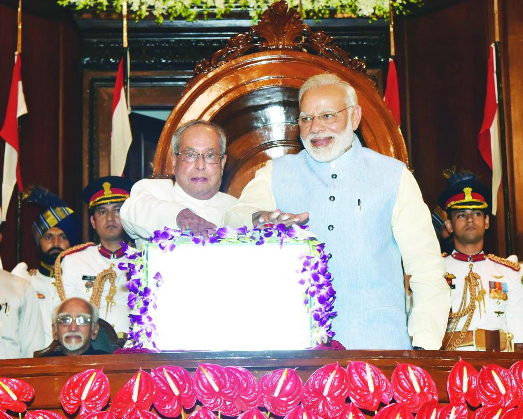 Prime Minister Narendra Modi and President Pranab Mukherjee launching the GST scheme on July 1. Photo: PIB