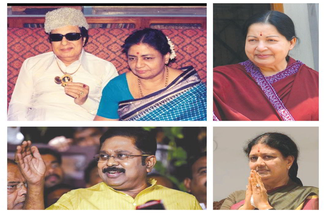(Clockwise from far left) AIADMK founder MG Ramachandran with wife VN Janaki Ammal; the late CM, J Jayalalithaa; jailed leader VK Sasikala; TTV Dinakaran, AIADMK deputy general secretary