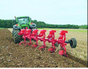 A reversible plough that can cut the foot-long stubble left after combine harvesting