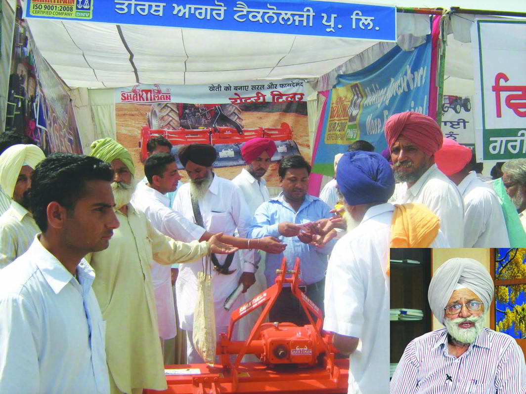(Inset) PAU vice-chancellor Baldev Singh Dhillon says the farmers are given a menu of choices at the seven annual kisan melas that the university holds in September and March