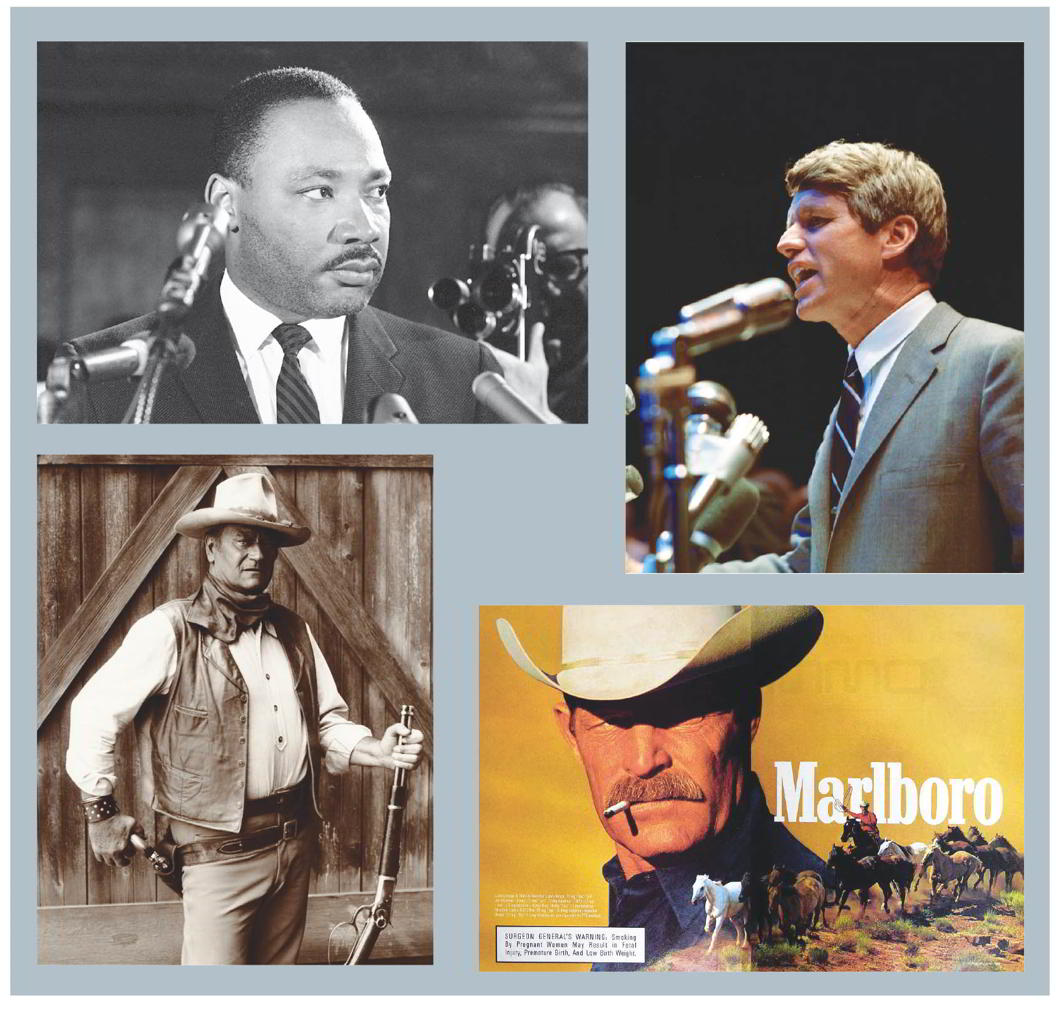 (Clockwise from top left) Dr Martin Luther King and Senator Robert Kennedy, both of whom were shot to death. The Marlboro Man and John Wayne are iconic American symbols of virility