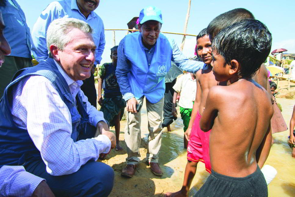 UNHCR head Filippo Grandi meets Rohingya children in Cox's Bazar, Bangladesh