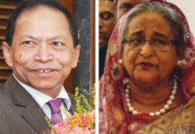 (Left) Bangladesh's Chief Justice Surendra Sinha and PM Sheikh Hasina are at loggerheads over the balance of power between the judiciary and the legislature