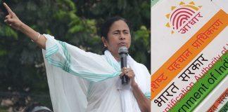 (Left) West Bengal CM Mamata Banerjee. Photo: UNI; Aadhaar card. Photo: Anil Shakya