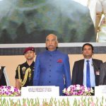 President Ram Nath Kovind, Chief Justice of India Dipak Mishra and Lok Sabha Speaker Sumitra Mahajan at the inaugural function of the National Law Day, 2017, in New Delhi on Saturday (November 25). Photo: UNI