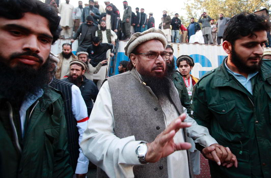 Hafiz Saeed Lashkar-e Taiba founder exits after addressing his supporters during a protest against satirical French weekly newspaper Charlie Hebdo
