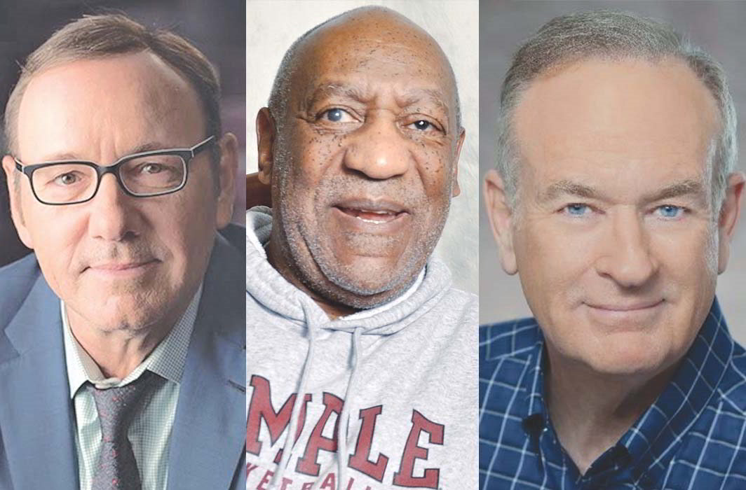 While Kevin Spacey (far left) has admitted to being a paedophile, Bill Cosby (middle) reportedly assaulted over 16 women. Bill O'Reilly was fired from Fox News over a harassment scandal