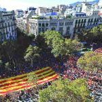 The March for Unity advances along a Barcelona street. Photo: UNI