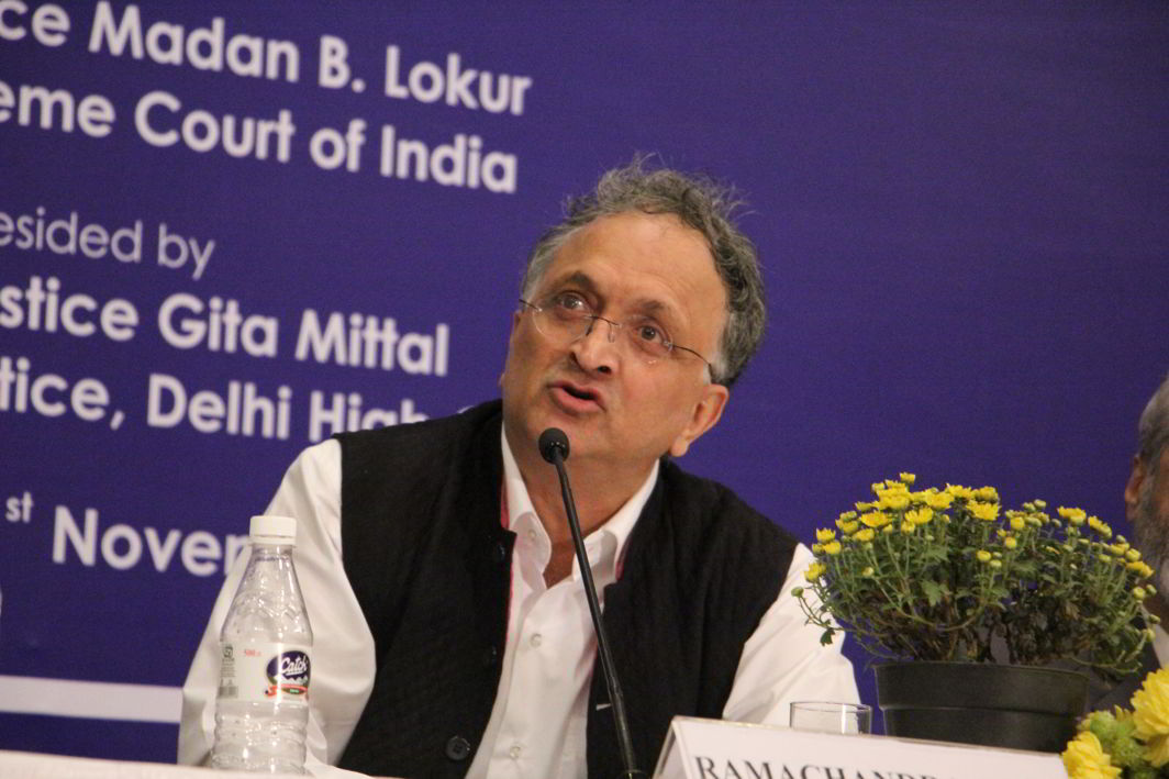 """Historian Ram Guha speaking at the 23rd Justice Sunanda Bhandare Memorial Lecture on the topic """"Patriotism vs Jingoism"""" at the India International Centre on Wednesday (November 1). Photo: Bhavana Gaur"""