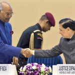 (Left) President Ram Nath Kovind being received by Chief Justice of India Dipak Mishra at the inaugural function of the National Law Day. Photo: UNI