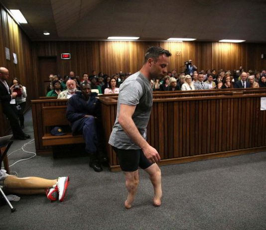 Paralympian Oscar Pistorius attends sentencing for the murder of Reeva Steenkamp at the Pretoria High Court, South Africa on June 13, 2016. Photo: UNI