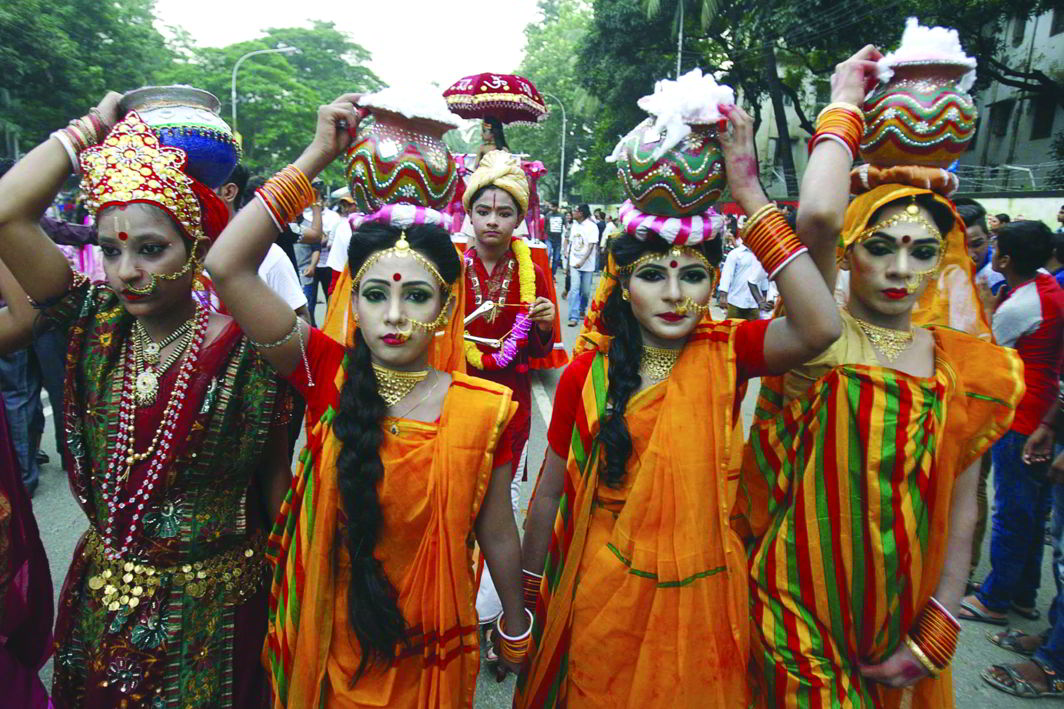 Women celebrate Janmashtami in Dhaka. For the ruling Awami League, Hindu men are a big vote-bank that must not be alienated. Photo: UNI