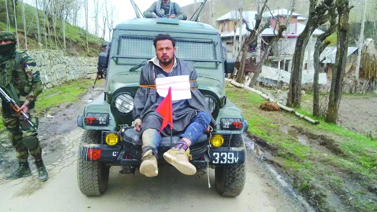Farooq Ahmed Dar, a civilian, was ordered to be tied to an army vehicle by Major Leetul Gogoi, in Kashmir