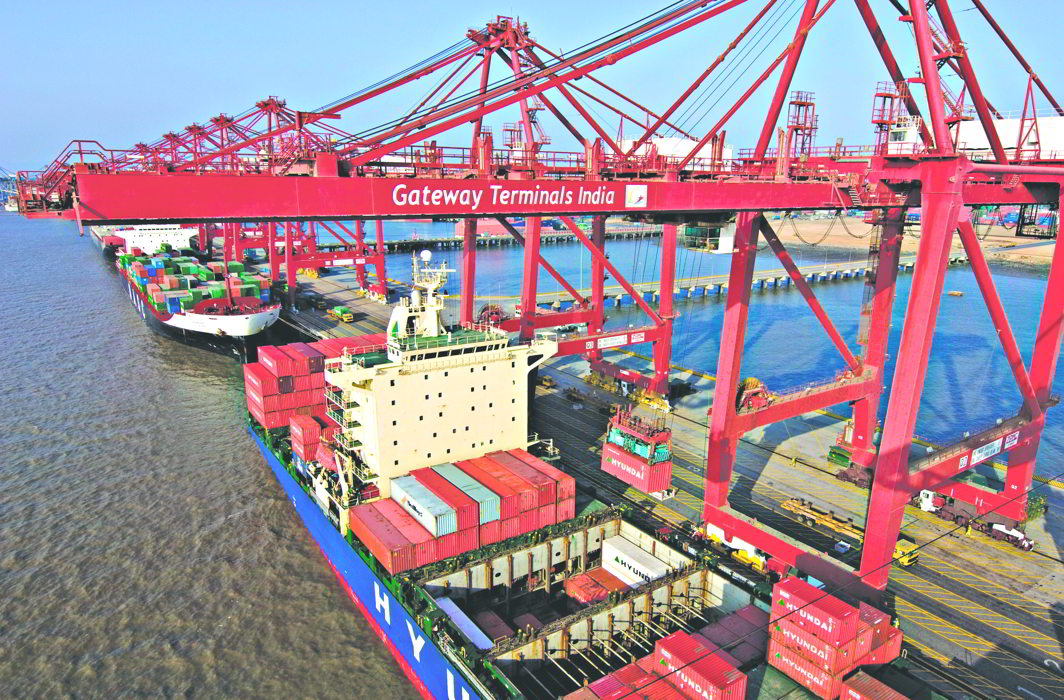 Container operations at Gateway Terminals India Pvt Ltd outside Mumbai