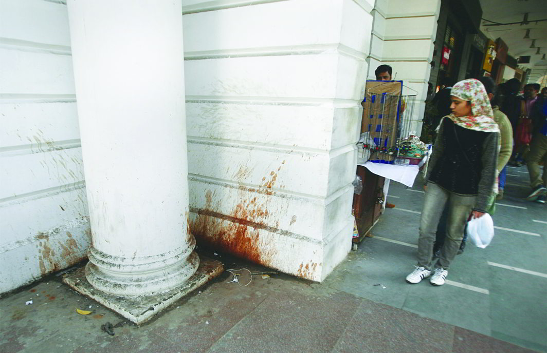 Central Delhi's elite Connaught Place is marred by filthy, paan-stained walls. Photo: Anil Shakya