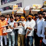 Karni Sena activists protest against Sanjay Leela Bhansali's upcoming movie Padmavati, in Jaipur. Photo: UNI