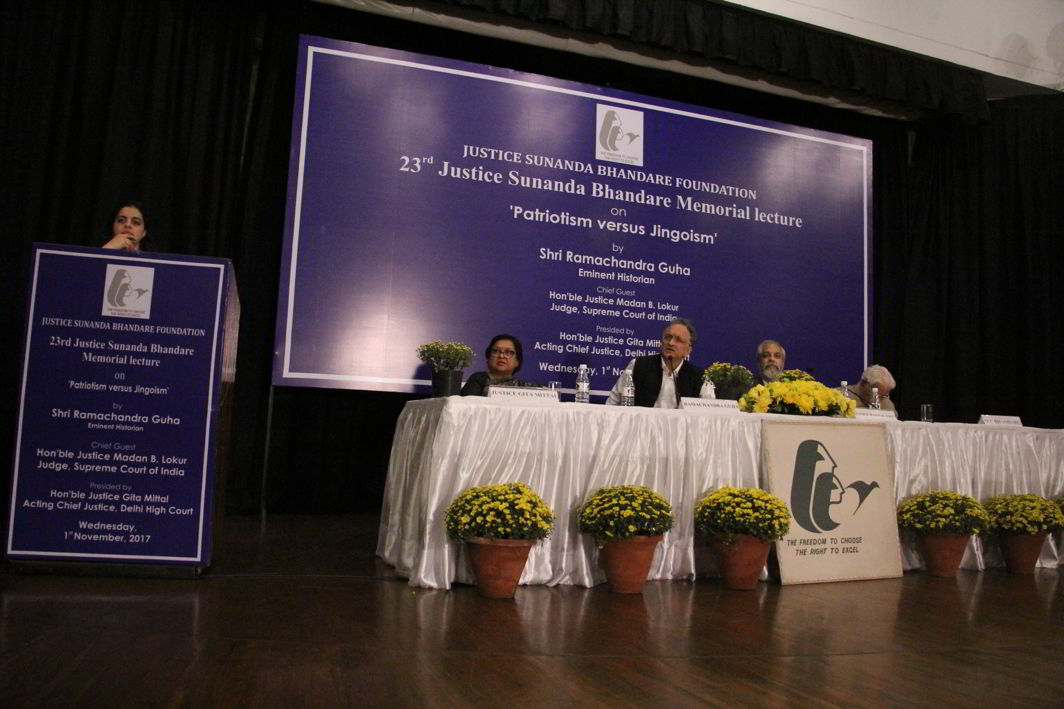 Guests at the 23rd Justice Sunanda Bhandare Memorial Lecture. (L-R) Acting Chief Justice of the Delhi High Court Justice Gita Mittal, Historian Ram Guha, Justice Madan B Lokur and MC Bhandare Photo: Bhavana Gaur
