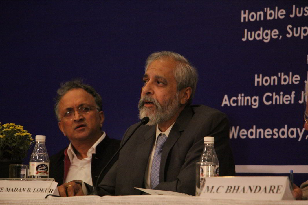 Justice Madan B Lokur speaking at the 23rd Justice Sunanda Bhandare Memorial Lecture. Photo: Bhavana Gaur